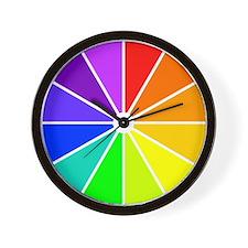 <b>RAINBOW CLOCKS:</b> Color Wheel Wall Clock