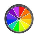 RAINBOW CLOCKS:  Color Wheel Wall Clock