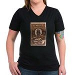 1883 Almanac Cover Women's V-Neck Dark T-Shirt