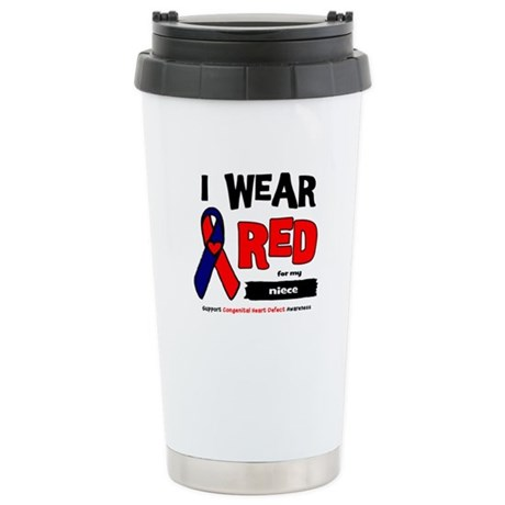 I wear red for my niece Stainless Steel Travel Mug