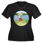 Vintage golfer Women's Plus Size V-Neck Dark T-Shi