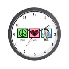 Peace Love Mom Wall Clock