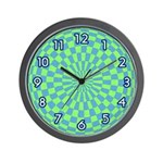 OP ART SERIES:  Blue & Green Wall Clock