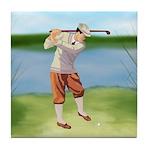 Vintage golfer Tile Coaster