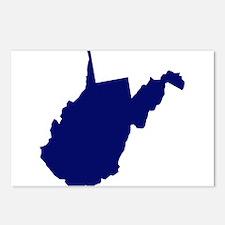 West Virginia - Blue Postcards (Package of 8)