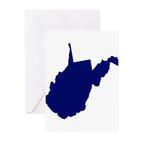 West Virginia - Blue Greeting Cards (Pk of 10)