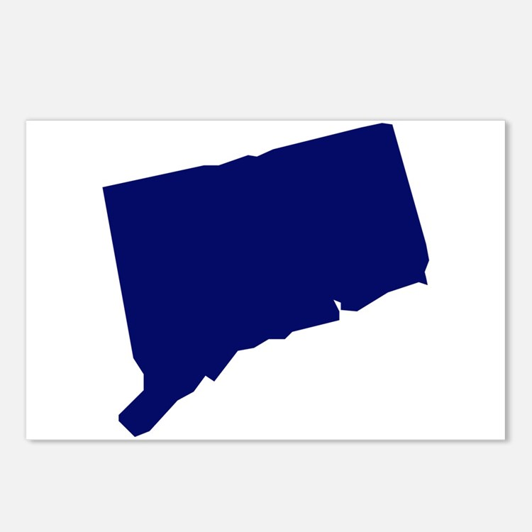 Connecticut - Blue Postcards (Package of 8)