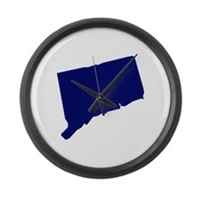 Connecticut - Blue Large Wall Clock