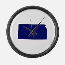 Kansas - Blue Large Wall Clock