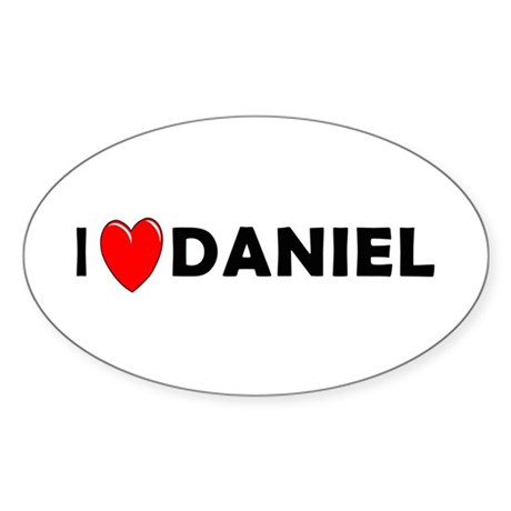 I Love Daniel Oval Sticker