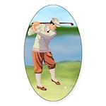 Vintage golfer Sticker (Oval 50 pk)