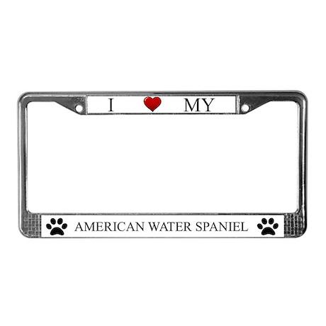 White I Love My American Water Spaniel Frame