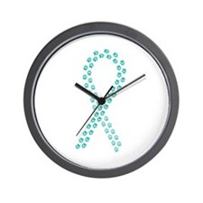 Teal Paws Cure Wall Clock