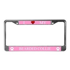 Pink I Love My Bearded Collie Frame