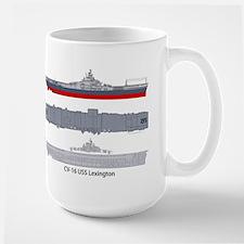 USS Lexington CV-16 CVA-16 Large Mug