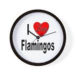 I Love Flamingos Wall Clock