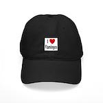 I Love Flamingos Black Cap