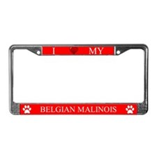 Red I Love My Belgian Malinois Frame