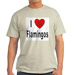 I Love Flamingos (Front) Ash Grey T-Shirt