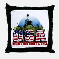 USA Kicked Bin Laden's Ass! Throw Pillow