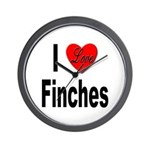 I Love Finches Wall Clock