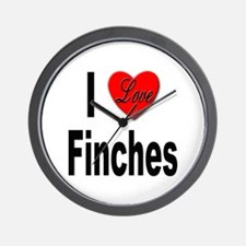I Love Finches Wall Clock