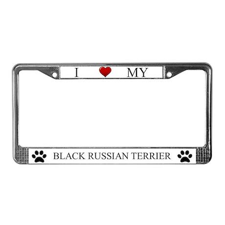 White I Love My Black Russian Terrier Frame