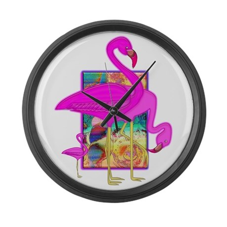 Family of Pink Flamingos Large Wall Clock