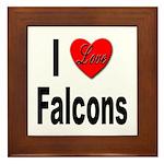 I Love Falcons Framed Tile