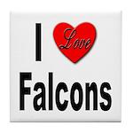 I Love Falcons Tile Coaster