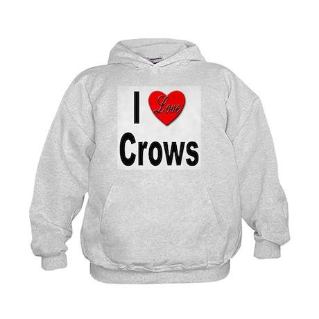 I Love Crows (Front) Kids Hoodie