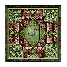 Celtic Dragon Labyrinth Tile Coaster