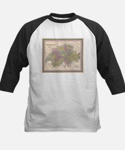 Vintage Map of Switzerland (1853) Baseball Jersey