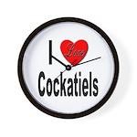 I Love Cockatiels Wall Clock