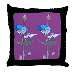 Blue Poppy Purple Throw Pillow