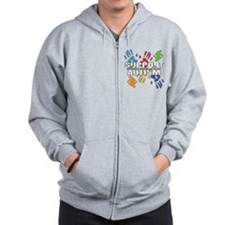 Support Autism Handprints Zip Hoodie