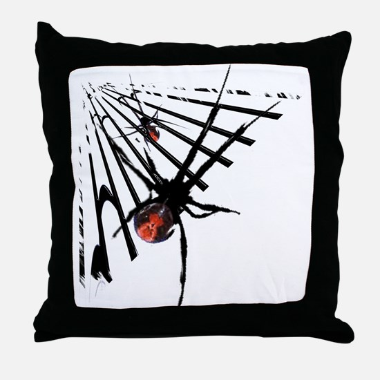 Redback Spider in Web Throw Pillow