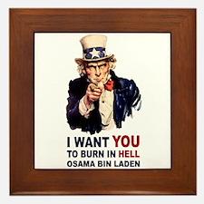 Burn in Hell Osama Bin Laden Framed Tile