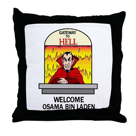 Osama Bin Laden in Hell Throw Pillow