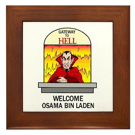 Osama Bin Laden in Hell Framed Tile