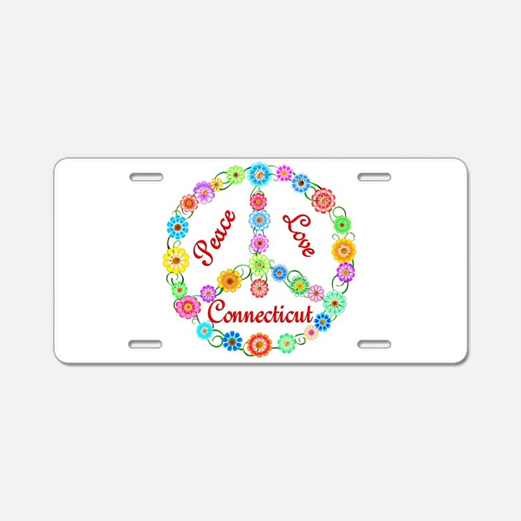Peace Love Connecticut Aluminum License Plate