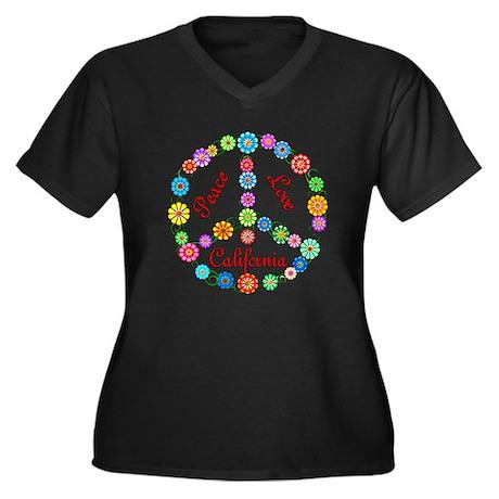 Peace Love California Women's Plus Size V-Neck Dar