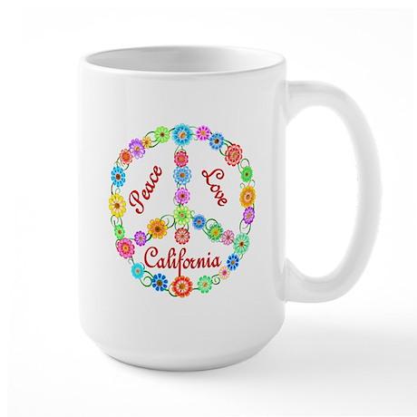 Peace Love California Large Mug