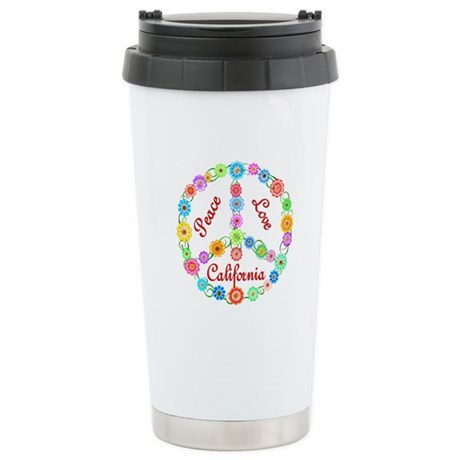 Peace Love California Stainless Steel Travel Mug