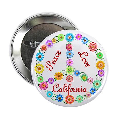 """Peace Love California 2.25"""" Button"""