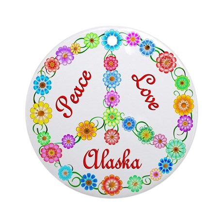Peace Love Alaska Ornament (Round)
