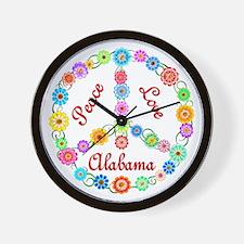 Peace Love Alabama Wall Clock