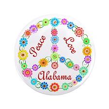 """Peace Love Alabama 3.5"""" Button"""