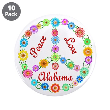 "Peace Love Alabama 3.5"" Button (10 pack)"