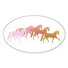 many horses Oval Decal